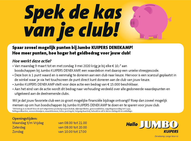 Jumbo Kuipers in Denekamp stelt €15.000,- beschikbaar voor het verenigingsleven in Denekamp.