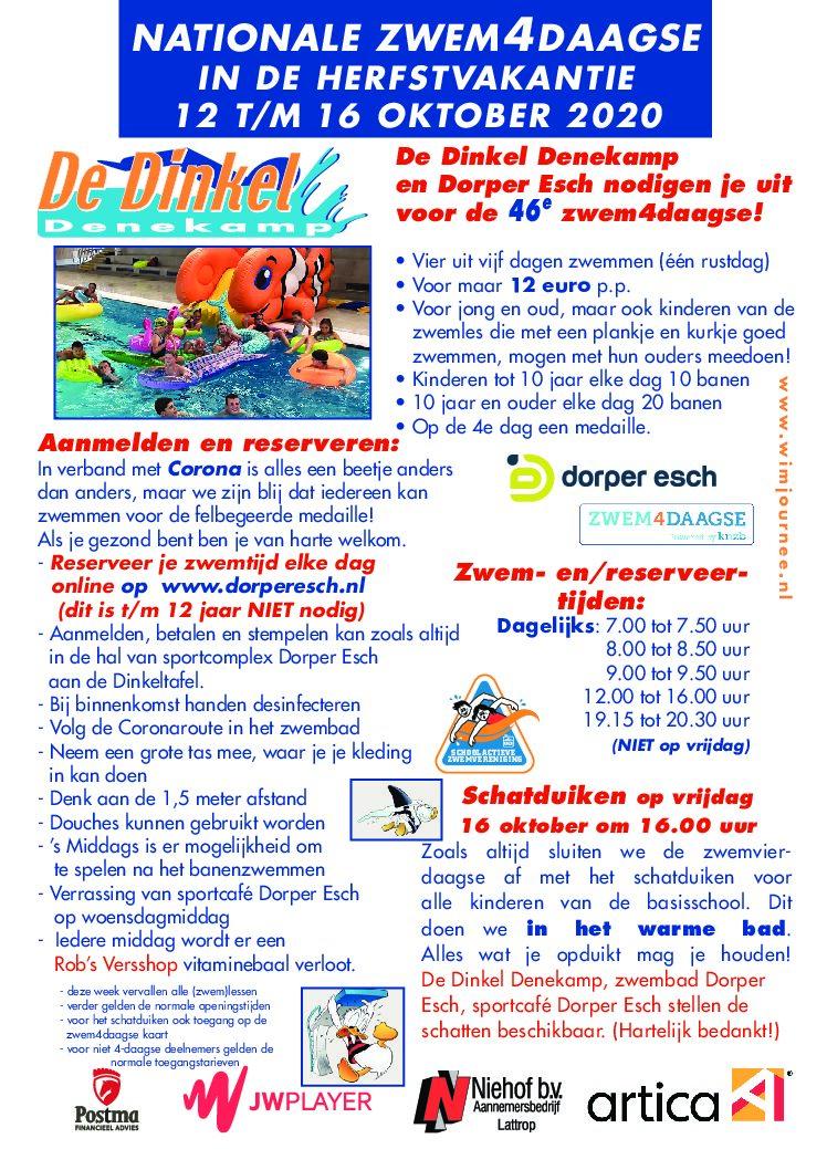 46e zwemvierdaagse in de herfstvakantie gaat door